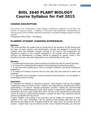 BIOL3640U Plant Biology Syllabus Fall 2015