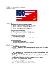 The Cold War PPT and Class Notes-  Causes and Legacy of the War