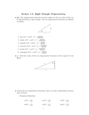 Study Guide on Right Triangle Trigonometry