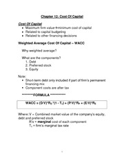 Principles of Finance class notes, Chapter 12 Cost of Capital
