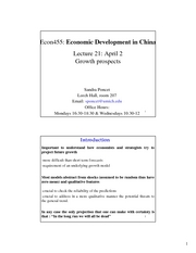 ECON 455 Lecture 21 Growth prospects