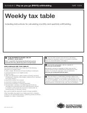 weekly tax table