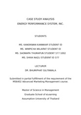 Case study analysis - Energy performance system, Inc.