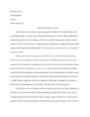 Argumentative Essay on Technology's Effect on Society