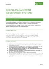 BCO216 MANAGEMENT INFORMATION SYSTEMS