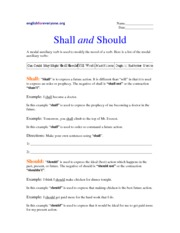 Modal Auxiliary verbs - Shall and Should