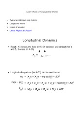 Lecture 6 Notes Aircraft Longitudinal Dynamics