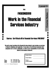 FNSICIND301B Workbook Work in the financial services industry