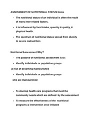 ASSESSMENT OF NUTRITIONAL STATUS Notes