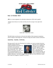 Case Questions Red Lobster 2015