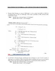 SOLUTIONS TO TUTORIAL 4 ON CONVECTIVE HEAT TRANSFER