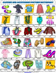 clothes and accessories esl vocabulary picture dictionary worksheet