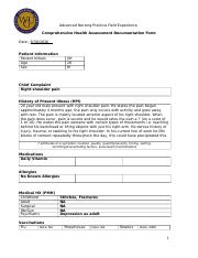 WGU Advanced Nursing Practice Field Experience  Comprehensive Health Assessment Documentation Form.d