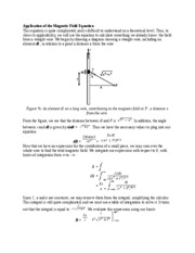 Application of the Magnetic Field Equation