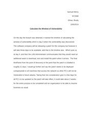 calculate the window of vulnerability