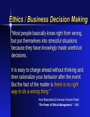 Ethics - Business Decisionmaking