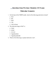 Questions from Previous Chemistry 115 Exams Molecular Geometry
