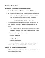 Practitioner Abilities Notes