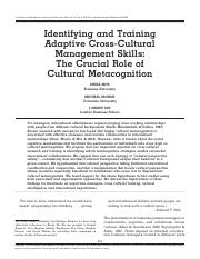 Identifying and training adaptive cross-cultural management skills the crucial role of cultural meta