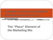 Marketing Channels and Retailing Lecture Slides