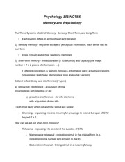 Psychology and Memory Quick Review Guide