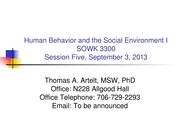 GRU SOWK 3300 Session 5- Theoretical Perspectives on Human Behaviour