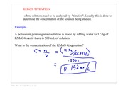 Redox Titration Calculations