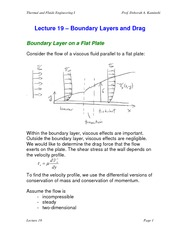Lecture 19 Boundary Layers and Drag