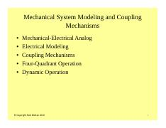 #3 Mechanical System Modeling and Coupling