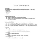 Beowulf Unit Study Guide