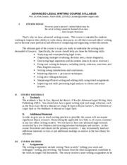 legal writing syllabus
