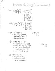 Math 106 Exam 1 Study Guide 2012 Solutions