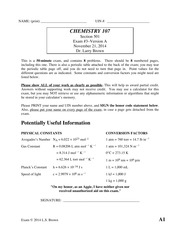 Exam 3 Fall 2014 on Chemistry for Engineers