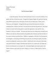 """Let it Be America Again"" Essay"