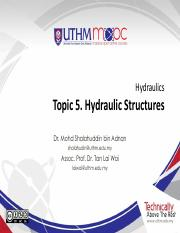 hydraulics Topic 5 Hydraulic Structures