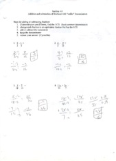 MATH 0309 ADDITION & SUBTRACTION OF FRACTIONS WORKSHEET