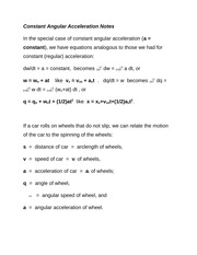 Constant Angular Acceleration Notes