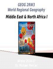 GEOG 2RW3 - Winter 2017 - Lecture 15 - World Regions V - Middle East & North Africa I - student-A2L.