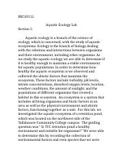 aquatic ecology bio ii lab report bscl aquatic ecology  aquatic ecology bio ii lab report 1 bsc2011l aquatic ecology lab section 1 aquatic ecology is a branch of the science of ecology which is concerned