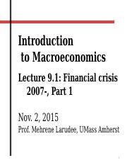 104 Fall 2015 FINAL Lecture 9.1 Financial crisis part 1.pptx