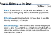 Race and Ethnicity in Sport I