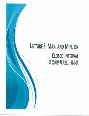 MATB110 Scan Notes Lecture 8 Max min on Closed Interval