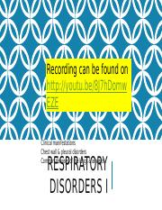 Respiratory Disorders 1 [Autosaved]
