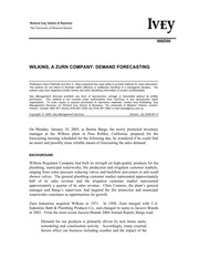 wilkins a zurn company demand forecasting Wilkinsa zurn company about deman forecasting - case study example   the current demand forecasting process of the company includes a forecast.