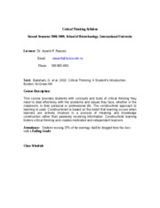 Syllabus ASR Critical Thinking