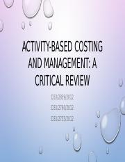 Group 8-Activity-based costing and management--a critical review