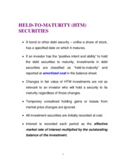 HELD TO MATURITY ACCOUNTING - held to maturity notes