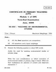 (www.entrance-exam.net)-IGNOU Certificate in Primary Teaching-Teaching of Environmental Studies Samp