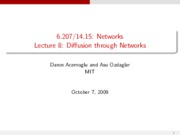 Lecture 8 - Diffusion through Networks