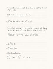 15.1 Antiderivatives and Indefinite Integrals